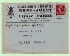 """DAGUIN  - """"FETES DU CENTENAIRE ALBERTVILLE 14-16 AOUT"""" - 1936 - Sur Enveloppe Illustrée ABEILLE - - Marcophilie (Lettres)"""