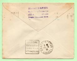 """DAGUIN  - """"IIIe FOIRE MONT-de-MARSAN 28 MAI 6 JUIN ATTRACTIONS"""" + 1ère LIAISON AERIENNE De NUIT - 1939 - Marcophilie (Lettres)"""