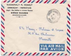 910Or  Courrier Lettre Par Avion Air Mail Diego Suarez Madagascar à Marseille Timbres Verso - Madagascar (1960-...)