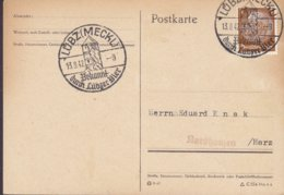 Deutsches Reich Sonderstempel 'Bekannt Durch Lübzer Bier' LÜBZ (Meckl.) 1942 Card Karte NORDHAUSEN Harz 3 Pf.Hindenburg - Germany
