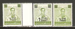Thailand 1988 Mi# 1245 ** MNH - 3 Types - Surcharged - Definitives / King Bhumibol Adulyadej - Thaïlande