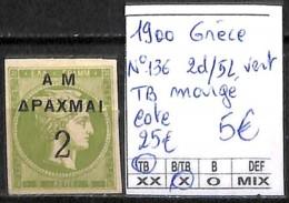 D - [840992]TB//*/Mh-c:25e-Grèce 1900 - N° 136, 2d/5L Vert, TB Margé - 1900-01 Surcharges Sur Hermes & Jeux Olympiques