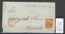 France -Lettre Du Mexique - Pour Bordeaux - 1880 - Via New York - Entrée Voie Anglaise - Calais - Storia Postale
