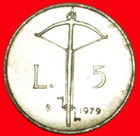 + CROSSBOW: SAN MARINO ★ 5 LIRE 1979 UNC MINT LUSTER! LOW START ★ NO RESERVE! - San Marino