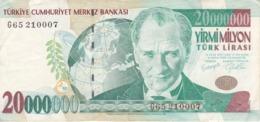 BILLETE DE TURQUIA DE 20000000 LIRASI DEL AÑO 2001   (BANKNOTE) - Turkije