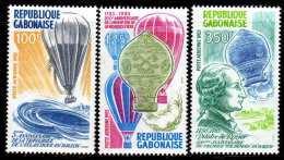 Gabon PA  N° 256 / 58  XX Bicentenaire Des 1ères Ascensions De L'homme Dans L'atmosphère, Les 3 Vals Sans Charnière, TB - Gabon (1960-...)