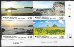 SOUTH KOREA, 2019, MNH, TOURISM, BEACHES, BOATS, LANDSCAPES, 4v - Holidays & Tourism