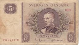 BILLETE DE SUECIA DE 5 KRONOR DEL AÑO 1960 (BANKNOTE) - Suecia