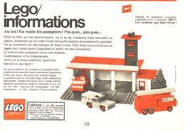 """PUB  """" EN ROUTE LES POMPIERS  """" """" LEGO INFORMATION""""   1970 - Lego"""