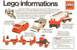 "PUB  "" CARAVANE / DEPANNEUSE / POMPIER / VETERAN   "" "" LEGO INFORMATION""   1970 - Lego"