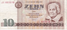 BILLETE DE ALEMANIA  DDR DE 10 MARK  DEL AÑO 1971  (BANK NOTE) - [ 6] 1949-1990 : RDA - Rep. Dem. Alemana