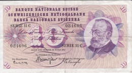 BILLETE DE SUIZA DE 10 FRANCS DEL AÑO 1963 (BANKNOTE) - Suiza