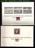 Österreich -  Mi. Nr. Gedenkblatt Zur WIPA - Jahrgang 1981 - 1981-90 Ungebraucht