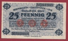Allemagne 1 Notgeld  De 25 Pfenning Stadt  Bremerhaven (RARE)  Dans L 'état N° 4961 - [ 3] 1918-1933 : République De Weimar