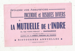 Buvard ,assurances , LA MUTUELLE DE L'INDRE , CHATEAUROUX,  Frais Fr 1.55 E - Banca & Assicurazione