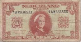 BILLETE DE HOLANDA DE 1 GULDEN DEL AÑO 1945  (BANKNOTE) WILHELMINA - [2] 1815-… : Regno Dei Paesi Bassi