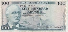 BILLETE DE ISLANDIA DE 100 KRONUR DEL AÑO 1961 (BANKNOTE) - Iceland