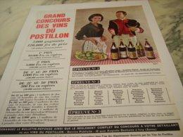 ANCIENNE PUBLICITE GRAND CONCOURS VIN LE CLOS DU POSTILLON 1963 - Alcohols