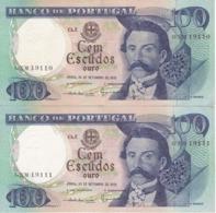 PAREJA CORRELATIVA DE PORTUGAL DE 100 ESCUDOS  DEL AÑO 1978 EN CALIDAD EBC (XF) (BANKNOTE-BANK NOTE) - Portugal