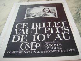 ANCIENNE  PUBLICITE CE BILLET VAUT PLUS AVEC CNEP 1963 - Altri