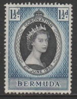 Bermuda 1953 Coronation Of Queen Elizabeth II 1½ P Blue/black Multicoloured  SW 132 O Used - Bermuda