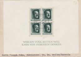 Brief Von Augsburg Nach St.Gallen/Schweiz-Hitlerblock Auf Brief 1937-Block 7 Mit Ersttag-Stempel ! - Allemagne