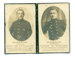 WO1 / WW1 - Doodsprentje Adolf En Evariest De Mangeleire - Drongen / - Gesneuvelde - Obituary Notices