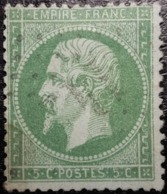 FRANCE Y&T N°20a Napoléon 5c Vert Foncé. Oblitéré Losange G.C. - 1862 Napoleon III