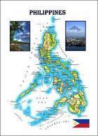 Philippines Country Map New Postcard Philippinen Landkarte AK - Philippinen