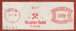 Ausschnitt, Absenderfreistempel, Gustav Sehl, 42 Rpfg, Stettin 1938 (81205) - Deutschland