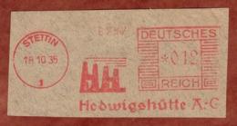 Ausschnitt, Absenderfreistempel, Hedwigshuette, 12 Rpfg, Stettin 1935 (81206) - Deutschland