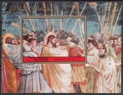 """Ajman 1972 Bf. 338A """"Vita Di Cristo : Il Bacio Di Giuda"""" Affresco Dipinto Giotto Di Bondone Paintings Sheet Perf. CTO - Ajman"""