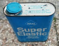 ARAL Super Elastic  Bidon D Huile Ancien En Tole Pour Collection - Voitures