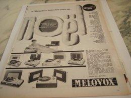ANCIENNE PUBLICITE ELECTROPHONE VALISE DE MELOVOX 1960 - Music & Instruments