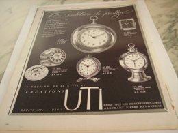 ANCIENNE PUBLICITE  TRADITION DE PRESTIGE CREATION UTI 1960 - Juwelen & Horloges