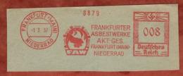 Ausschnitt, Absenderfreistempel, Frankfurter Asbestwerke, 8 Rpfg, Frankfurt 1937 (81213) - Deutschland