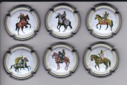 SERIE COMPLETA DE 6 PLACAS DE CAVA SOLDADOS A CABALLO (CAPSULE)  HORSE - Placas De Cava