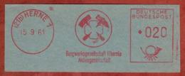 Ausschnitt, Absenderfreistempel, Bergwerksgesellschaft Hibernia, 20 Pfg, Herne 1961 (81215) - BRD
