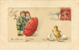 Belle Carte Gaufrée - Paques - Poussin Enfants Et Parapluie 1911 - Erika 4651 - Pâques