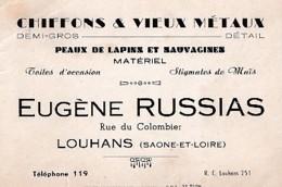 EUGENE  RUSSIAS     CHIFFONS  VIEUX METAUX         LOUHANS - Cartoncini Da Visita
