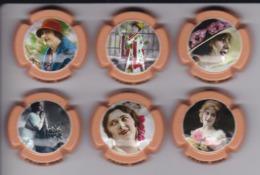 LOTE DE 6 PLACAS DE CAVA CHAMP SORS DE MUJERES DE EPOCA (CAPSULE) MUJER-WOMAN - Placas De Cava