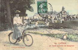 62 Pas De Calais Le Bonjour De CALAIS Fantaisie De Jeune Femme à Bicyclette - Calais