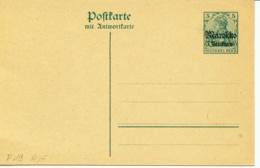 Deutsche Auslands-PA Marokko P 19 **  5 Ctmos A. 5 Pf Ziffer Doppelkarte - Oficina: Marruecos