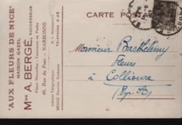Aux Fleurs De Nice, Maison Gazel, Mme A. BERGÉ Successeur,40 Rue Du Pont  NARBONNE - Publicité