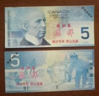 (Replica)China BOC Bank Training/test Banknote,Canada Dollars C-1 Series $5 Note (light Color)specimen Overprint - Canada