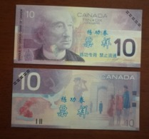 (Replica)China BOC Bank Training/test Banknote,Canada Dollars C-1 Series $10 Note (light Color)specimen Overprint - Canada