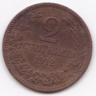Bulgarie 2 Stotinki 1912, Bronze, KM# 23.2 - Bulgarie