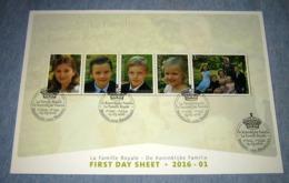 FDS Van 2016  De Koninklijke Familie / La Famille Royale 4569/73(o)  (Eerstedagstempels Op Mooie Kaart) First Day Sheet - 2011-...