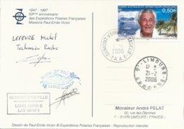 TAAF - Dumont D'Urville-T.Adélie: Carte Illustrée PE Victor Avec Timbre N°417 PE Victor - 01/01/2006 - Franse Zuidelijke En Antarctische Gebieden (TAAF)