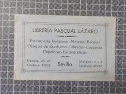 Cx 12) Ephemera LIBRERIA PASCUAL LÁZARO Sevilla España Spain Envelope Impresso Publicidad - Dépliants Touristiques